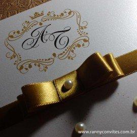 Convite para Casamento Dourado com Pérolas